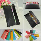 Women Ladies Braided Leather Wallet Coin Card Purse Key Ring Phone Bag Handbag