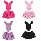 Toddler Girls Flutter Ruffle Short Sleeve Leotard Kids Gymnastics Chiffon Skirt