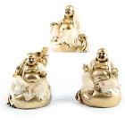 "Cream & Gold Laughing Buddha Figure Sitting on Sack 11cm (4.4"")"