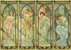 Art Nouveau Vintage Wall Poster Reprint Mucha Times of the Day Various A4 A3 A3+