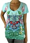 NEW NWT CHRISTIAN AUDIGIER ED HARDY WOMEN'S PREMIUM SHIRT T-SHIRT BLUE HEART