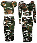 NEW LADIES CAMOUFLAGE PRINT TWO PIECE MIDI CROP TOP SKIRT SET SIZE 6-12