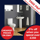 Bathroom WC Toilet, Cistern, Basin Sink and pedestal 4 Piece Pottery Suite Set