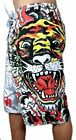 NEW ED HARDY CHRISTIAN AUDIGIER MEN'S GRAPHIC BOARD SHORTS TRUNKS BURNING TIGER