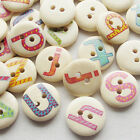 New 100/500pcs Alphabet Letter Wood Buttons 15mm Sewing Craft Mix Lots T0738