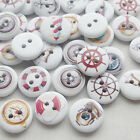 New 100/500pcs Rudder Anchor Wood Buttons 15mm Sewing Craft Mix Lots T0716