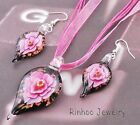 More options Drop Inside Flower Lampwork Glass Pendant Necklace Earring Set