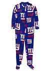New York Giants NFL Logo Print Adult Men's Footie Union Suit Pajamas