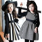 Girls Kids Dress 2-7Y Free Shipping Striped Paid Causal Clothing Autumn Fall