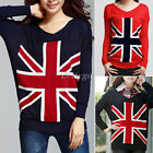 New Women Ladies Loose Union Jack Uk Flag Sweater Knit Top Jumper Pullover