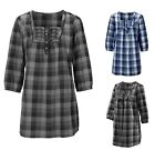 Black Grey Blue Checked Spring Summer Long Sleeve Tunic Top Blouse  8 10 12 14