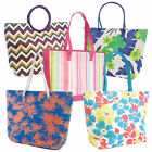 Ladies Womens Summer Weave Shoulder Tote Day Bag Beach Shopping Zipper Handbag