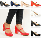 Womens ladies mid Block heel mary jane office formal work dolly strap shoes size