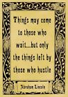 A4 Parchment Poster Quote Abraham Lincoln - HUSTLE - Greeting Card Option