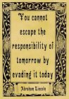 A4 Parchment Poster Quote Abraham Lincoln - RESPONSIBILITY - Greeting Card Optio