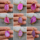 Vivid Peachblow Agate Druzy Connector / Electroformed Gemstone / Golden HG0542