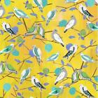 YELLOW - LOVEBIRDS BY  MAKOWER INPRINT 100% COTTON FABRIC birds