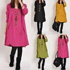 Boho Vintage Plus Long Top Shirt Blouse Kaftan Loose Short Maternity Mini Dress