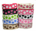 "9mm 16mm 25mm Multi-Dot Premium Grosgrain Ribbon 3/8"" 5/8"" 1"" All Occasions Eco"