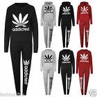 Womens Ladies Girls ADDICTED Jogging Bottoms Top Jog Track Suits GYM