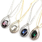 White Gold GP Oval Swarovski Crystal teardrop pendant long chain Necklace t598