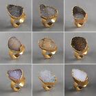 Chic Natural Agate Druzy Geode Ring / Electroformed Gemstone / Golden HPG0823