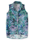 Aeropostale Womens Sheer Blossom Button Up Shirt