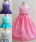 Coral Purple Aqua Turquoise blue Fuchsia Black Silver flower girl party dress