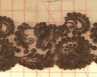 """Lovely black 14"""" wide floral lace embroidered edge mesh fabric trim wholesale"""