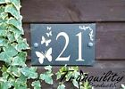 Engraved House Door Gate Number Slate Sign Plaque 26 - 50 With Butterflies