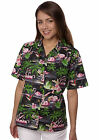 Benny's Womens Flamingos Hawaiian Shirt, Black