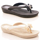 LADIES WOMENS BOW SANDALS FLIP FLOPS LOW WEDGE FOOTBED HOLIDAY BEACH  SIZE