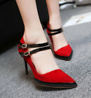 2015 Sexy Fashion Womens Suede Buckle Color Matching High Heels Work Shoes Red