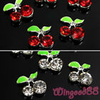10pcs Silver Plated 3D Cherry Alloy Rhinestone Crystal Nail Art Phone Decoration