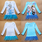 Girls Frozen Queen Elsa Anna Long Sleeve Kids 3-8Y Tops T-Shirt Dress Tutu Skirt
