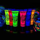 Monster Glow Neon Face & Body Paint 10ml SET of 6 Fluorescent Super Bright