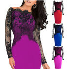 Fashion Womens Lace Off Shoulder Pencil Dress Formal Evening Cocktail Party Gown
