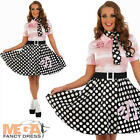 1950s Rock N Roll Girl Fancy Dress Ladies 50s Womens Bopper Costume Adult Outfit