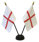England St George Cross Double Friendship Table Flag Set & choice of base
