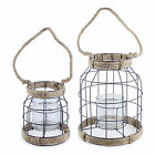 'Carlo' Metal & Rope Seaside Design Garden Lantern - Small or Large Available