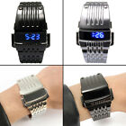 Mens Luxury Stainless Steel Band Blue LED Digital Date Sport Quartz Wrist Watch