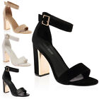 WOMENS BUCKLE ANKLE STRAP LADIES BLOCK MIRRORED HIGH HEEL SANDALS SHOES SIZE 3-8