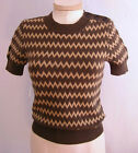 CARLISLE BROWN BEIGE ZIGZAG COTTON CASHMERE SS SWEATER SHIRT sz S M XXL NEW $265