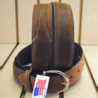 SILVER CREEK CLASSIC WESTERN LEATHER MAN BELT BROWN MADE IN THE USA