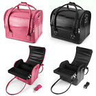 Professional Large Leather Cosmetic Make Up Box Vanity Jewellery Saloon Case Bag