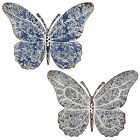 Large Wall Mountable Metal Butterfly Garden Wall Art - Blue or Grey Available