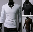Excellent Style Men Slim Fit Cotton V-Neck Long Sleeve Solid Casual T-Shirt BDAU