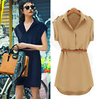 Fashion Women Ladies Short Sleeve Chiffon Casual OL Belt Shirt Mini Dress