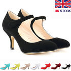 Womens Lower Mid Heels Corset Stiletto Strap Sexy Court Shoes Size 3 4 5 6 7 8 9