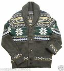 "Tommy Hilfiger ""Charcoal Heather"" Shawl Neck Cardigan Fair Isle Sweater $199"
